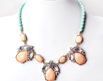 Necklace - Peach and Mint Bib Necklace - Gold Pastel Necklace - Statement Bib - Coral Pink, Mint Turquoise Necklace - Pale Jade Czech Glass