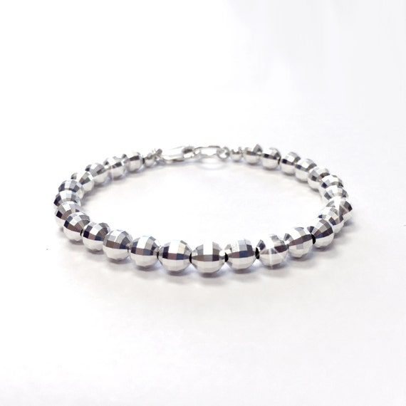 Classic Silver Bracelet 6mm Sterling Silver Bead Bracelet 925 Everyday Wear Bracelet Sterling Ball Bracelet