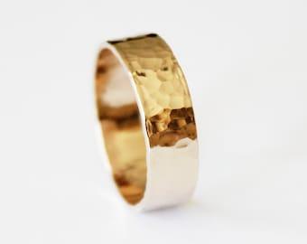 Ring - 14K Gold Filled Ring Band - Hammered Yellow Gold Band - Stacker Ring - Unisex - Men's - Women's - Wedding Band - Promise Ring Custom