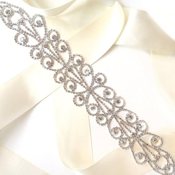 Sash Dreamy Crystal Wide Wedding Dress Sash Rhinestone Etsy