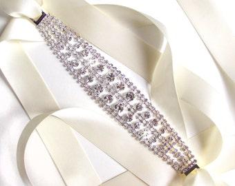 SALE! Splendid Rhinestone Encrusted Bridal Belt Sash or Headband - Custom Ribbon - Silver and Crystal Wide Wedding Dress Belt