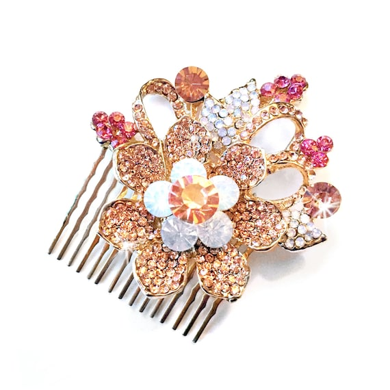 Comb Blush Pink Floral Hair Comb in Gold Vintage Style  42729fe98c87