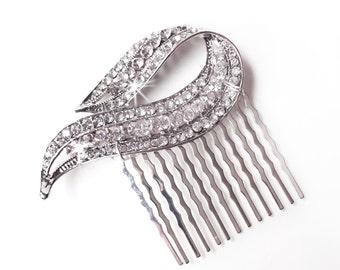Comb - Elegant Crystal Hair Comb - Rhinestone Bridal Comb - Vintage Style Hair Piece - Silver Rhinestone Brooch Comb
