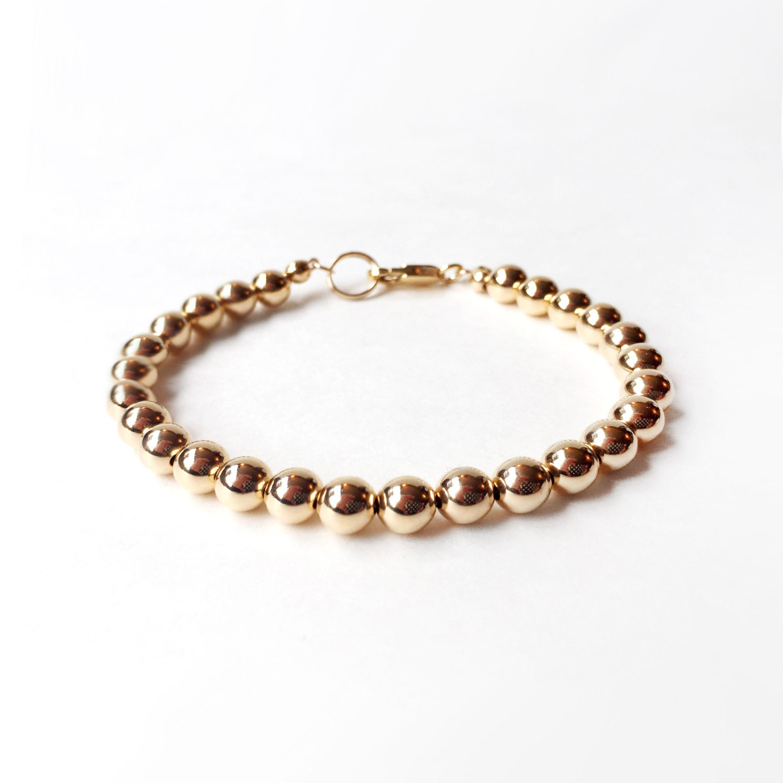 e5e1df2dc23 Bracelet 6mm 14K Gold Filled Bead Bracelet Everyday Wear | Etsy