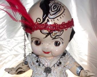 Kewpie Doll one of a kind assemblage art doll flapper kewpie