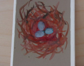 Robins nest artist trading card aceo original work