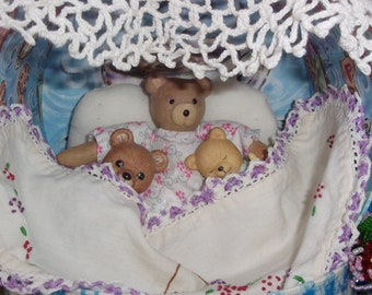Snuggling Grandma Teddy Bear diorama original art assemblage