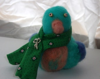 Crazy little blue bird with the styling scarf wool felted friend
