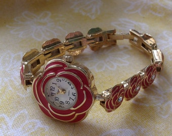 Take time to smell the roses rose watch by Versales ladies watch