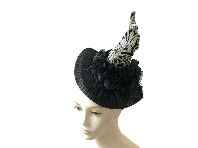 Witch/'s Tea Party Hat in Black and Gold with Roses \u201cHOT MESS\u201d Witch/'s Walk Burlesque Headpiece Glamorous Witch Witch Hat Fascinator