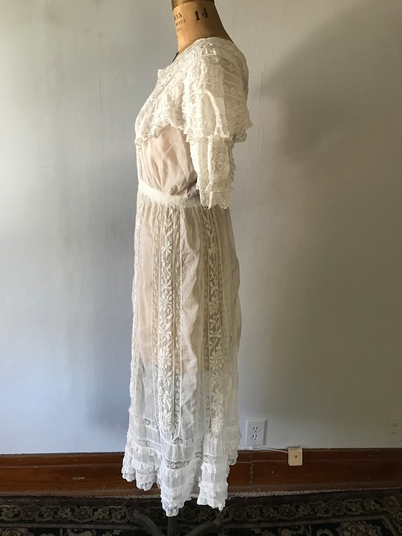 Antique 1900s Edwardian Women's White Embroidered… - image 6