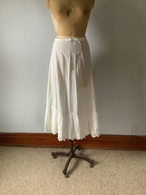 Antique Edwardian Petticoat - Embroidery White Cot