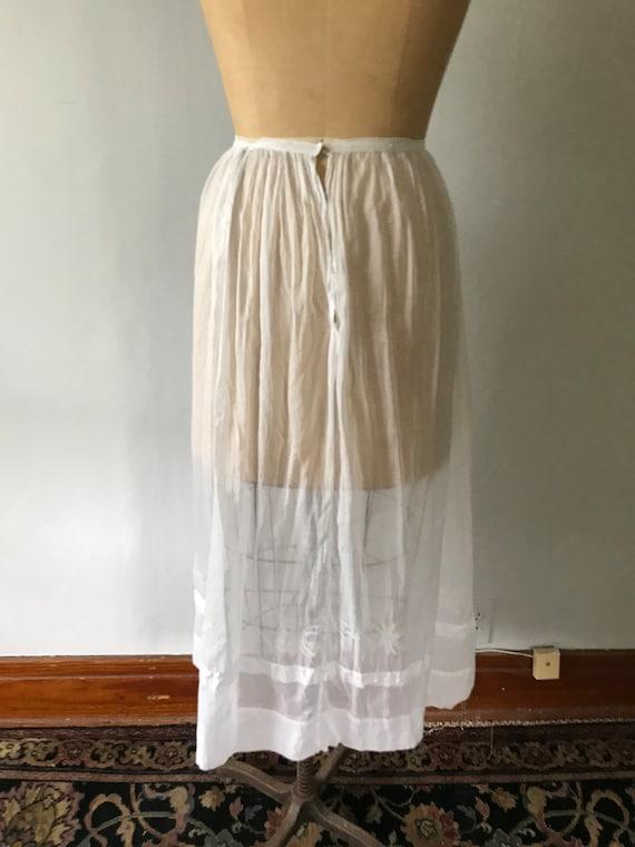 Antique Edwardian Sheer Cotton Embroidered Skirt … - image 6