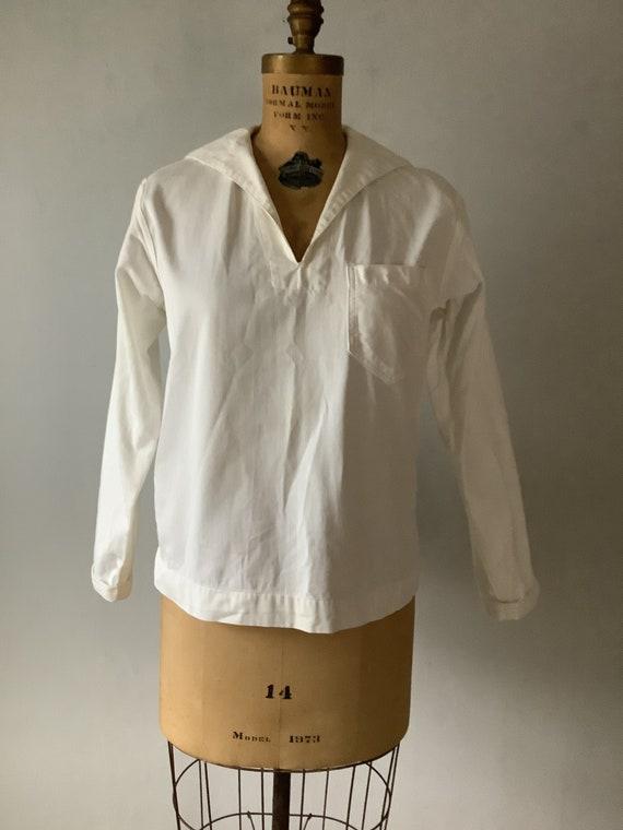 Vintage White Cotton Navy Sailor Shirt