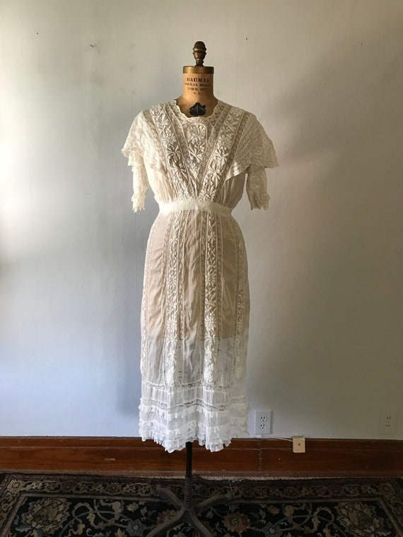 Antique 1900s Edwardian Women's White Embroidered… - image 1
