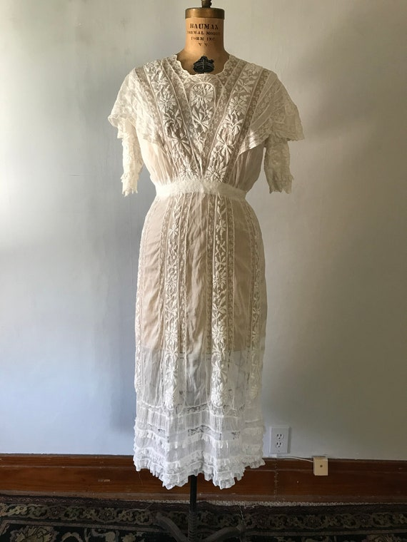 Antique 1900s Edwardian Women's White Embroidered… - image 2