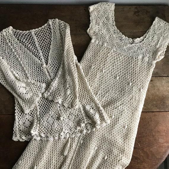 Two Piece 1970s Crochet Bohemian Dress & Jacket