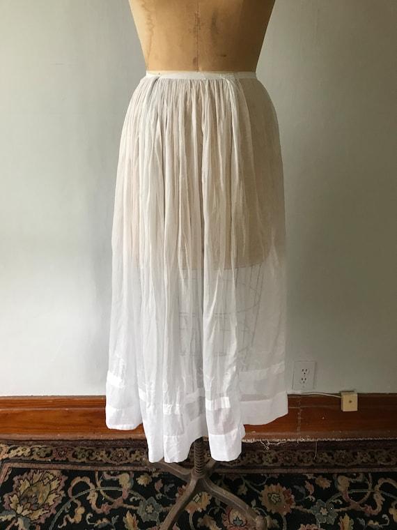 Antique Edwardian Sheer Cotton Embroidered Skirt … - image 2