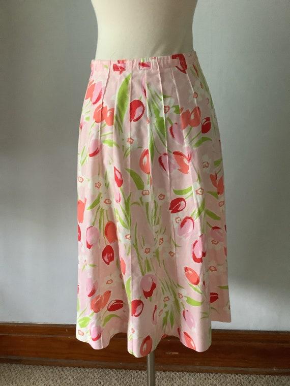 Vintage 1970s Floral Pink Tulip Print Skirt - image 6