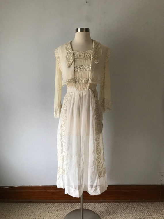 Antique Edwardian Women's Sheer Dress Lace Trim