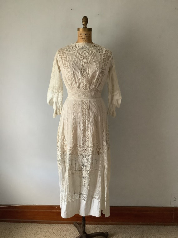 Antique 1910 Women's Edwardian White Lace Lawn Dre