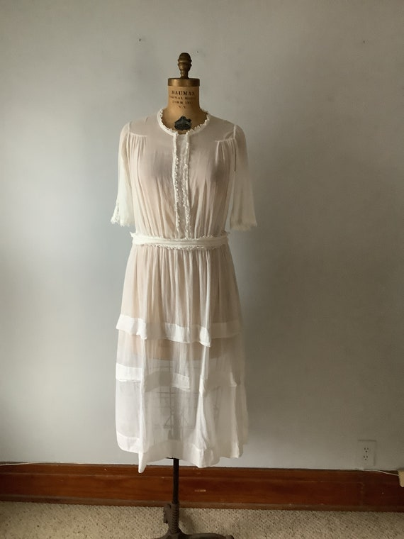 Vintage 1910 1920s Women's Sheer White Cotton Day