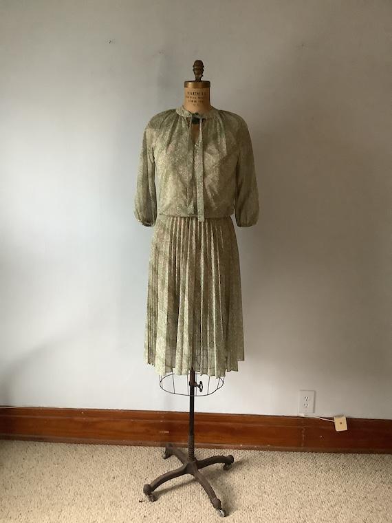 Sheer silk 80s blouse burgundy green mustard