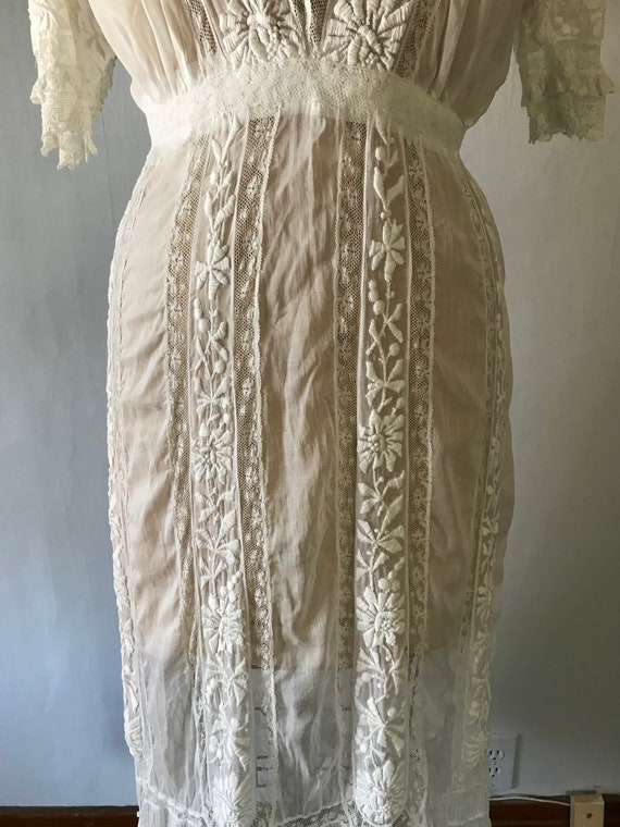 Antique 1900s Edwardian Women's White Embroidered… - image 4