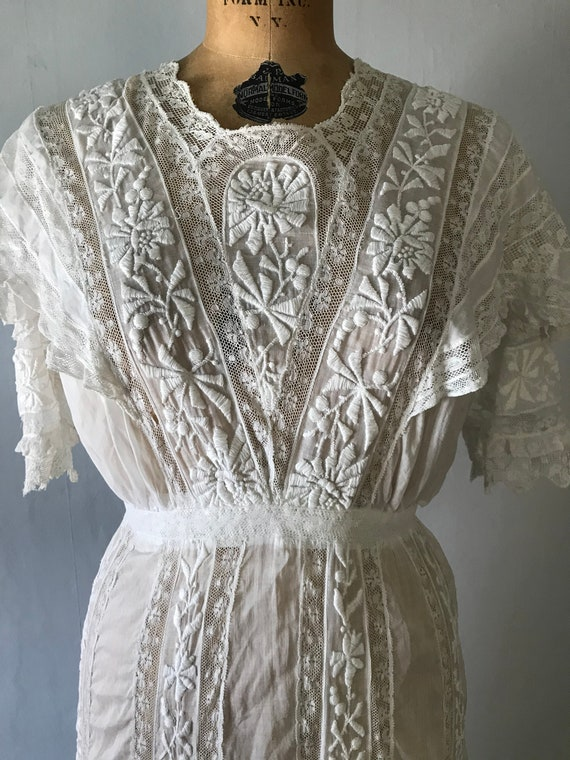Antique 1900s Edwardian Women's White Embroidered… - image 10