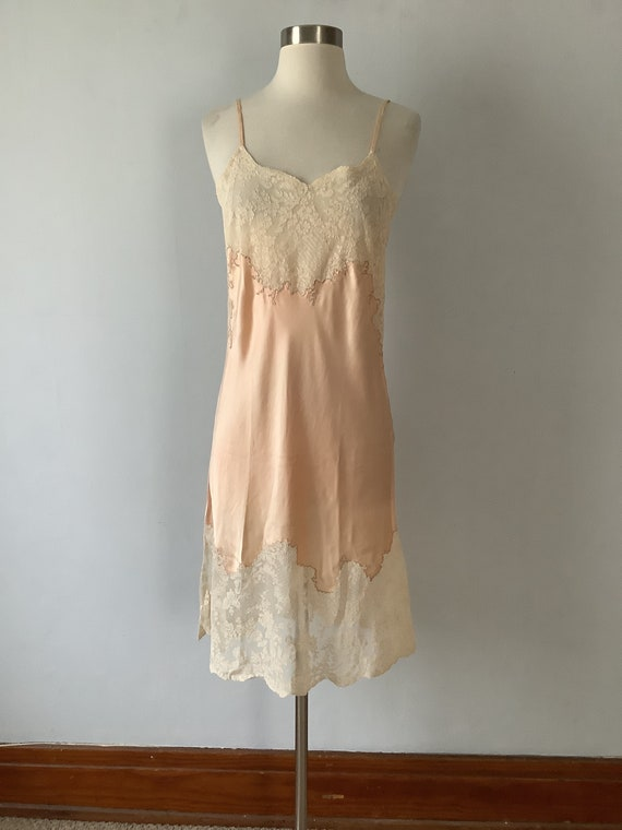 Vintage 1920s Lace and Satin Slip