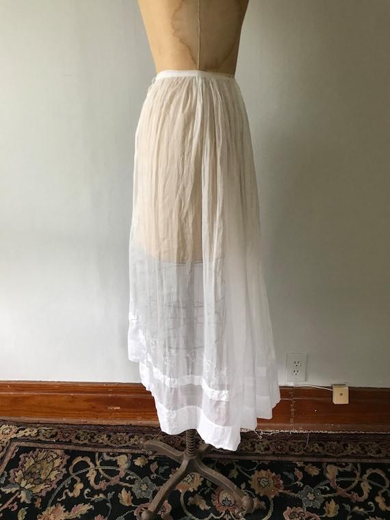 Antique Edwardian Sheer Cotton Embroidered Skirt … - image 8