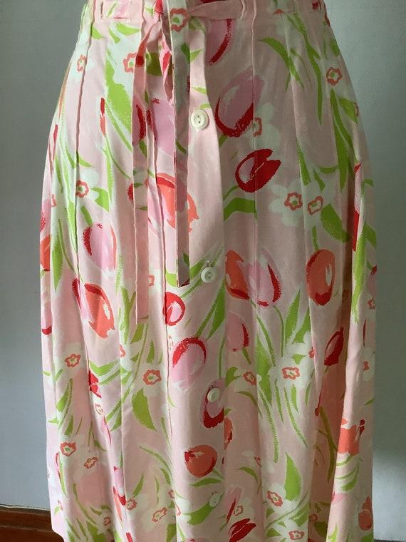 Vintage 1970s Floral Pink Tulip Print Skirt - image 4