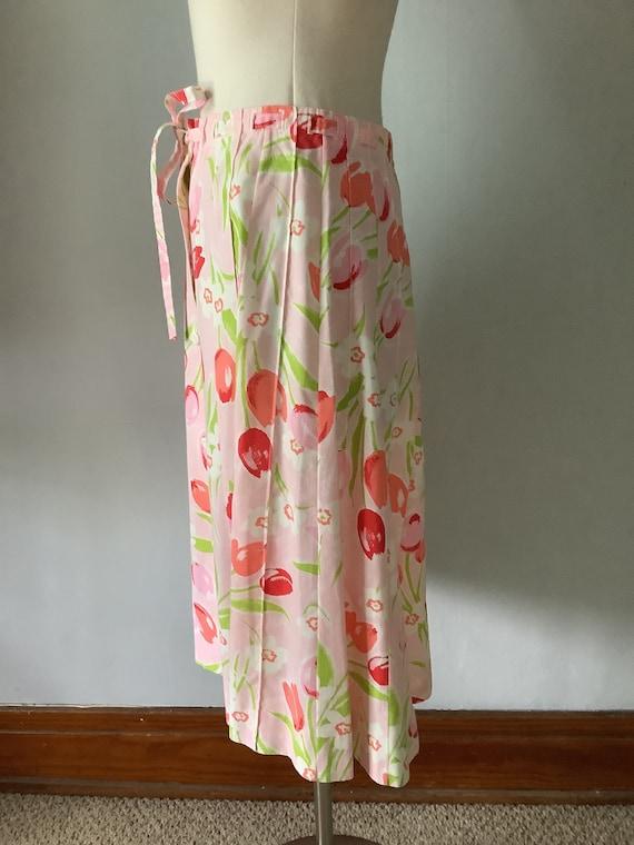Vintage 1970s Floral Pink Tulip Print Skirt - image 5