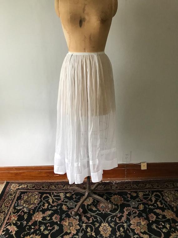 Antique Edwardian Sheer Cotton Embroidered Skirt … - image 1