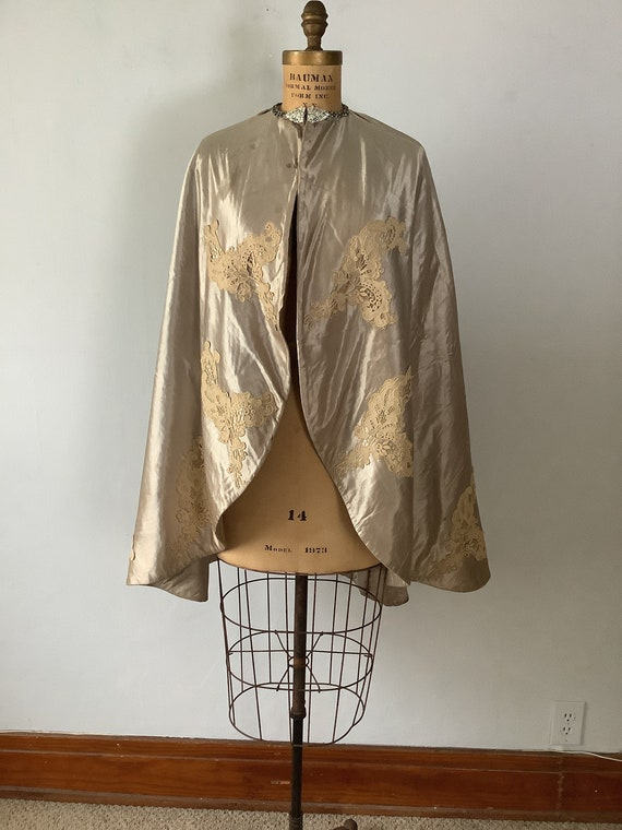 Vintage Satin and Lace Cape
