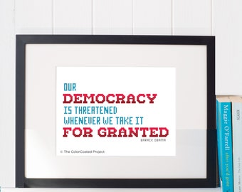 Our Democracy - Barack Obama cross stitch pattern