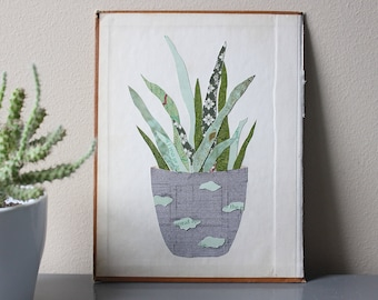 Plant Art - Original Paper Collage on Book Cover - Potted Plant - Ready to Hang