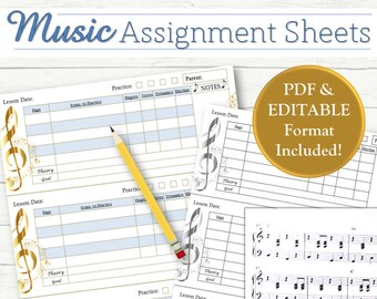 EDITABLE Music Lesson Assignment Sheets - INSTANT DOWNLOAD