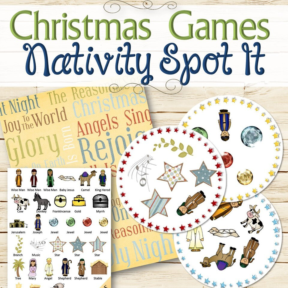 Nativity Christmas Spot It Game INSTANT DOWNLOAD