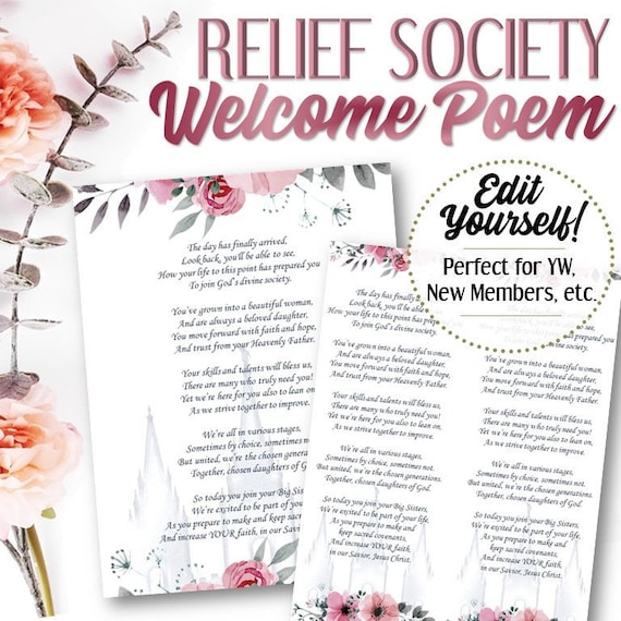Editable Welcome To Relief Society Poem Instant Download