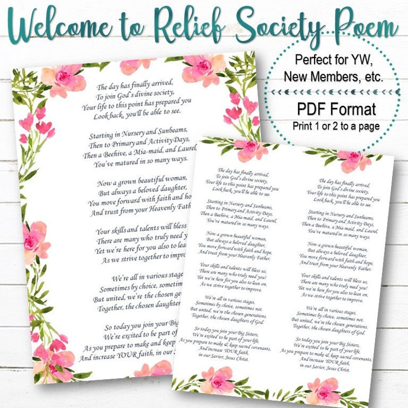 Welcome To Relief Society Poem Instant Download