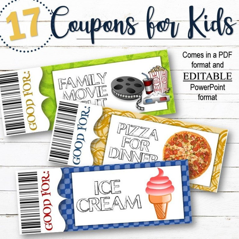 EDITABLE Reward/Gift Coupons for Kids  INSTANT DOWNLOAD image 0
