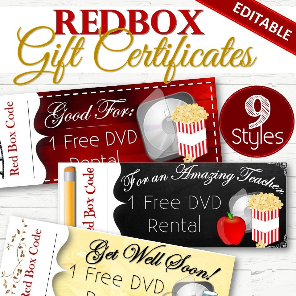 Editable Redbox Giftholiday Certificates Instant Download Etsy