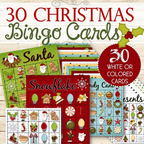 Etsy Christmas.30 Christmas Bingo Cards Instant Download