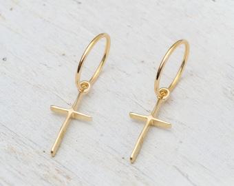 Hoop Earring with cross in 14k Solid Gold Single or Pair Unisex for him for her Gift Christmas Elegant Timeless 14k white gold dangle