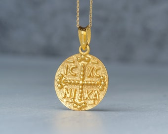 Constantine coin pendant 9k or 14k Solid Gold Byzantine Cross ICXC NIKA Necklace Greek Disc Gift for Her Religious necklace protection charm