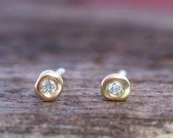 Natural diamond Stud Earrings solid gold Etra tiny fine jewelry 14k gift for wife mom girlfriend birthstone Gemstone Birthday Jewelry