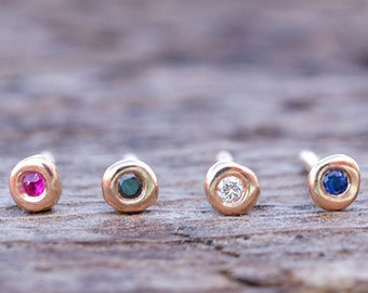SINGLE Extra Tiny Gold gemstone Earring ONE Ruby stud natural diamonds Solid Rose Gold 14k solid gold pebbles sapphire stud single sale