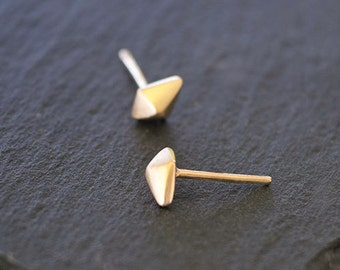 Solid Gold Diamond Earrings Diamond Shape Gold Geometric Earrings 14k solid gold minimal studs for Her Everyday earrings