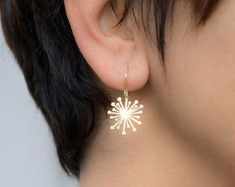 Large Solid Gold Starburst Dangle Earrings Dandelion  Handmade Statement 14k solid yellow Gold Gift Valentine Anniversary Wife women for her